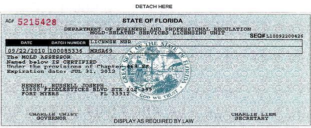Mold license state of florida home inspection